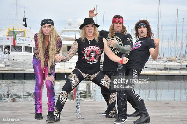 Lexxi Foxx Ralph Saenz Stix Zadinia and Russell Parrish attend the Steel Panther photocall during MIPCOM 2016 at Palais des Festivals on October 17...