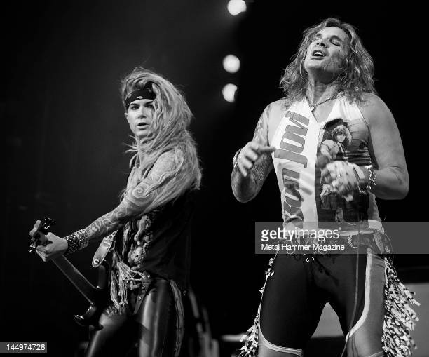 Lexxi Foxxx and Michael Starr of Steel Panther perform live on stage at Ozzfest on September 18 2010