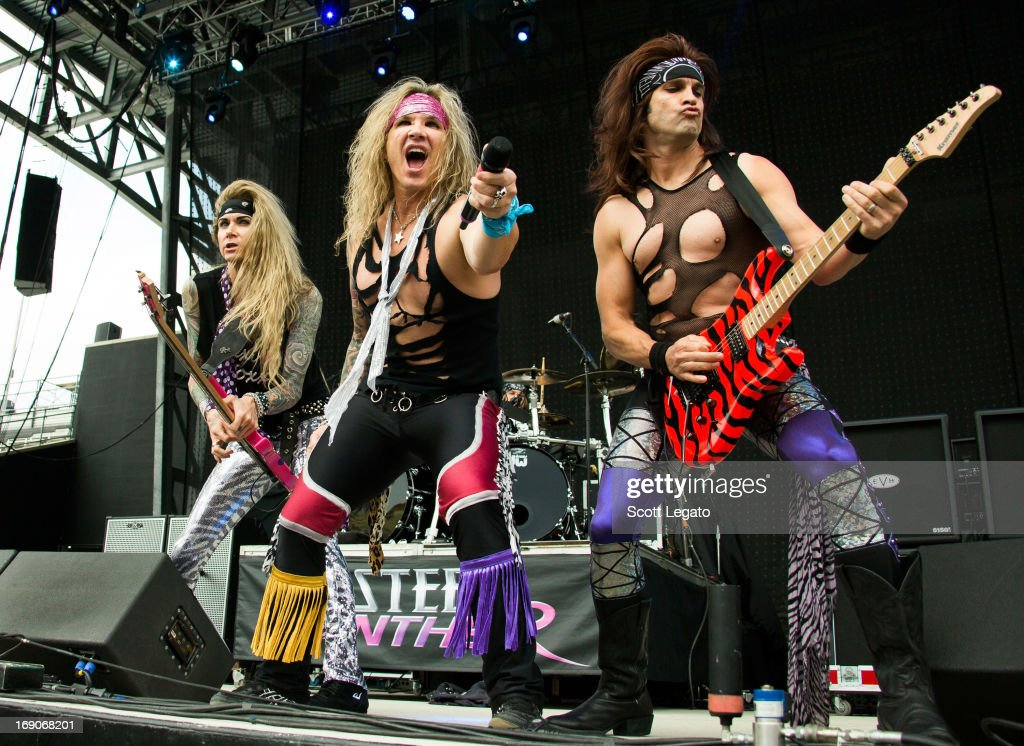 Lexxi Foxxx, Michael Starr and Satchel of Steel Panther performs during 2013 Rock On The Range at Columbus Crew Stadium on May 19, 2013 in Columbus, Ohio.