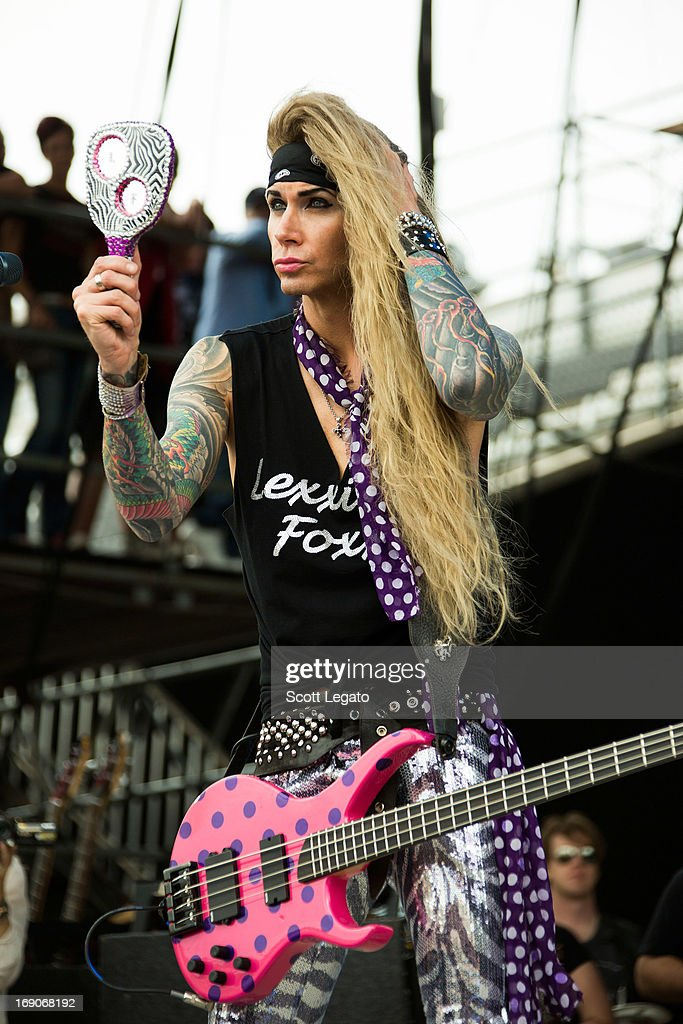 <a gi-track='captionPersonalityLinkClicked' href=/galleries/search?phrase=Lexxi+Foxxx&family=editorial&specificpeople=2602166 ng-click='$event.stopPropagation()'>Lexxi Foxxx</a> of Steel Panther performs during 2013 Rock On The Range at Columbus Crew Stadium on May 19, 2013 in Columbus, Ohio.