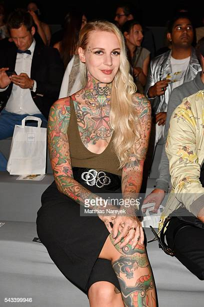 Lexy Hell attends the Steinrohner show during the MercedesBenz Fashion Week Berlin Spring/Summer 2017 at Erika Hess Eisstadion on June 28 2016 in...