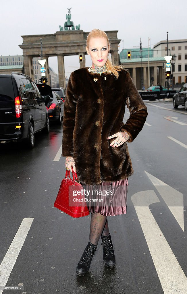 Lexy Hell sighting during Mercedes-Benz Fashion Week Autumn/Winter 2014/15 at Brandenburg Gate on January 16, 2014 in Berlin, Germany.