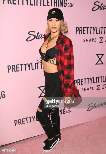 Lexy Panterra attends the PrettyLittleThing Campaign launch for PLT SHAPE with brand Ambassador Anastasia Karanikolaou on April 11 2017 in Los...
