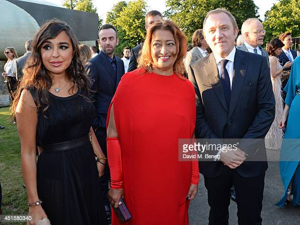 Leyla Aliyeva Zaha Hadid and FrancoisHenri Pinault attend The Serpentine Gallery Summer Party cohosted by Brioni at The Serpentine Gallery on July 1...