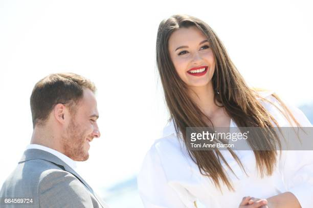 Leyla Lydia Tugutlu and Kerem Bursin attend 'Heart Of The City' Photocall During MIPTV 2017 on April 3 2017 in Cannes France