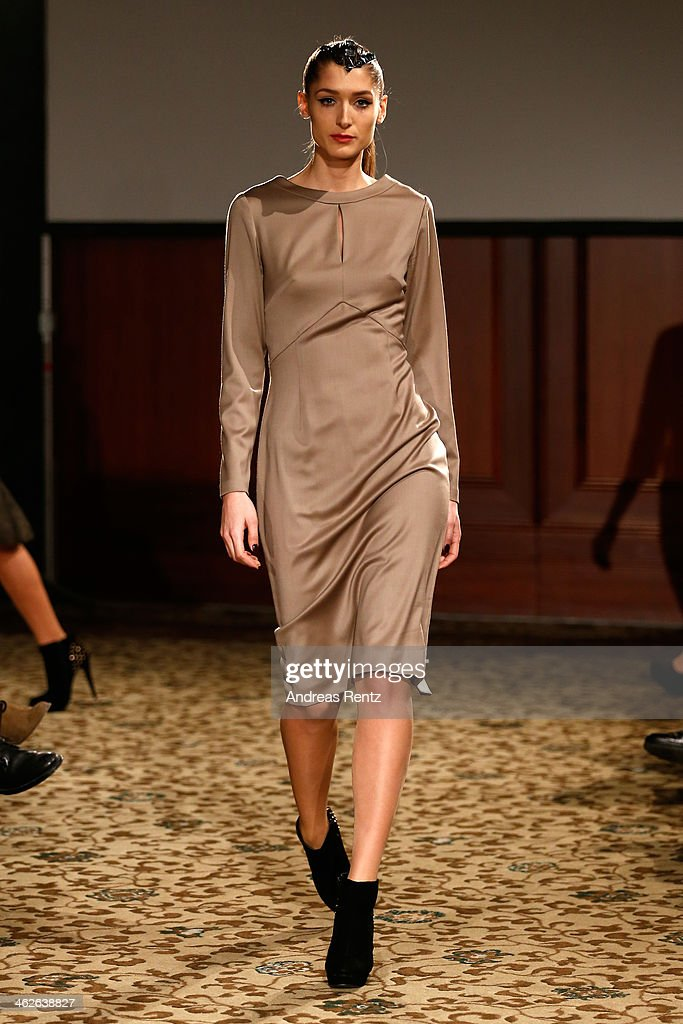 Leyla Mert walks the runway at the Sava Nald show during the Mercedes-Benz Fashion Week Autumn/Winter 2014/15 at Hotel Adlon on January 14, 2014 in Berlin, Germany.