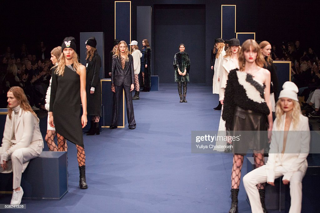 Leyla Piedayesh walks the runway at the Lala Berlin show during the Copenhagen Fashion Week Autumn/Winter 2016 on February 3 2016 in Copenhagen...