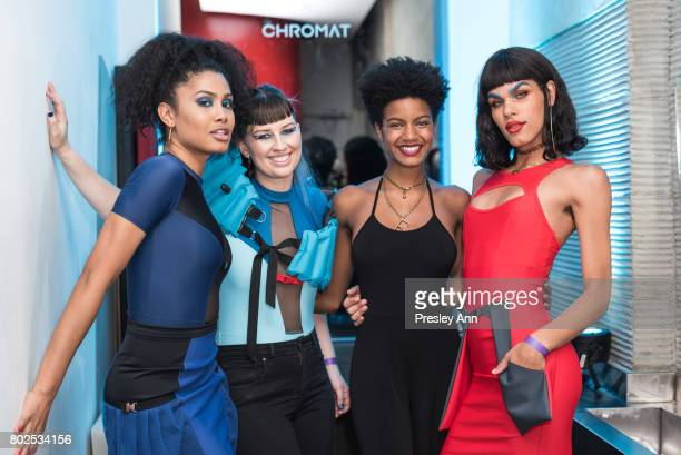 Leyna Bloom Becca McCharen Ebony Davis and Maya Mones attend MAC Celebrates the Winner of the CFDA/Vogue Fashion Fund Capsule Collection CHROMAT at...