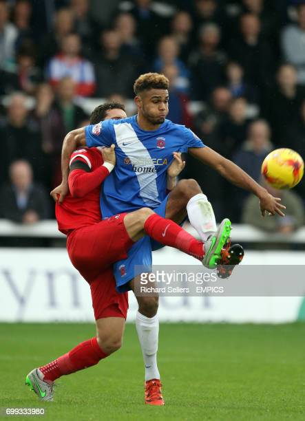 Leyton Orient's Mathieu Baudry challenges Hartlepool's Mikael Mandron