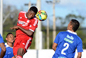 Leyvin Balanta of America de Cali jumps to head the ball during a match between Rionegro a America de Cali as part of first round of quadrangular of...