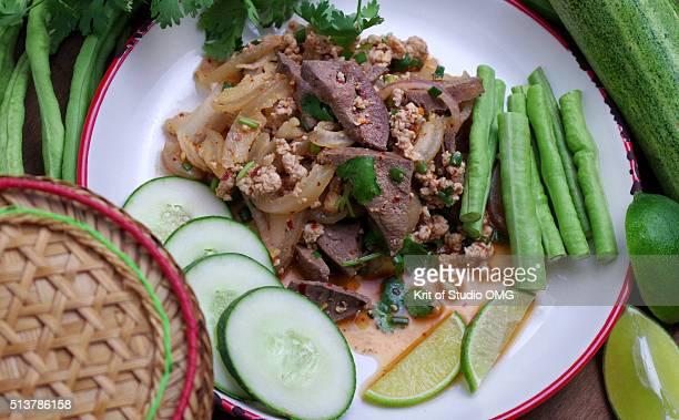 Lhap-Mhoo or pork spicy