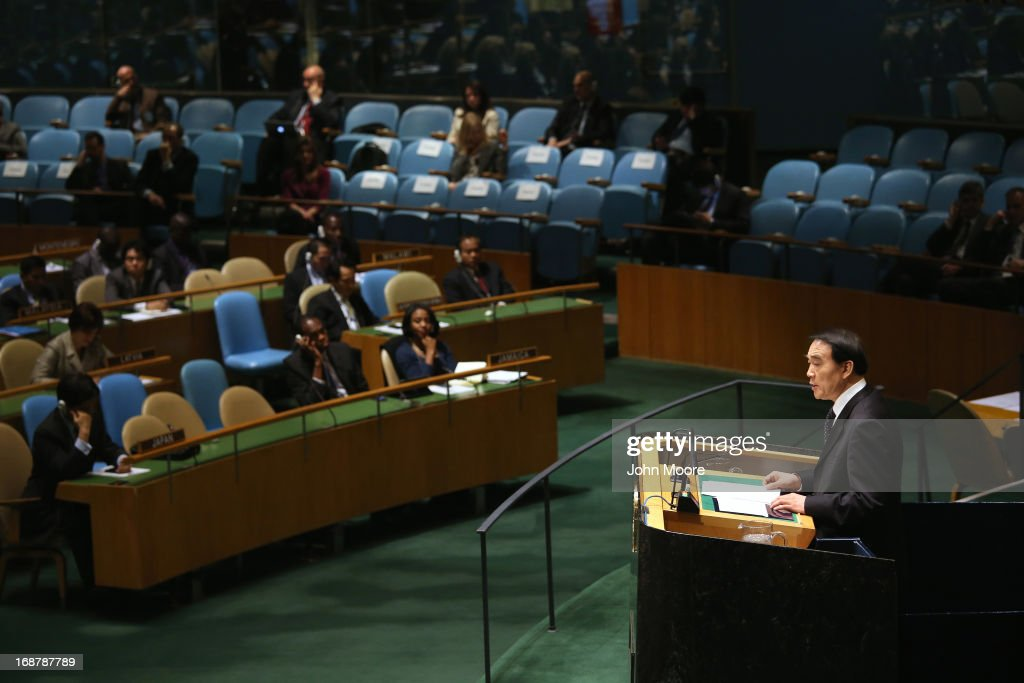 Li Baodong, Chinese Ambassador to the UN, speaks ahead of a vote at the United Nations calling for a political transition in Syria on May 15, 2013 in New York City. The 193-member UN General Assembly was to vote on an Arab-backed resolution condemning the regime of Syrian President Bashar Assad for human rights abuses and its escalating use of heavy weapons in the country's civil war.