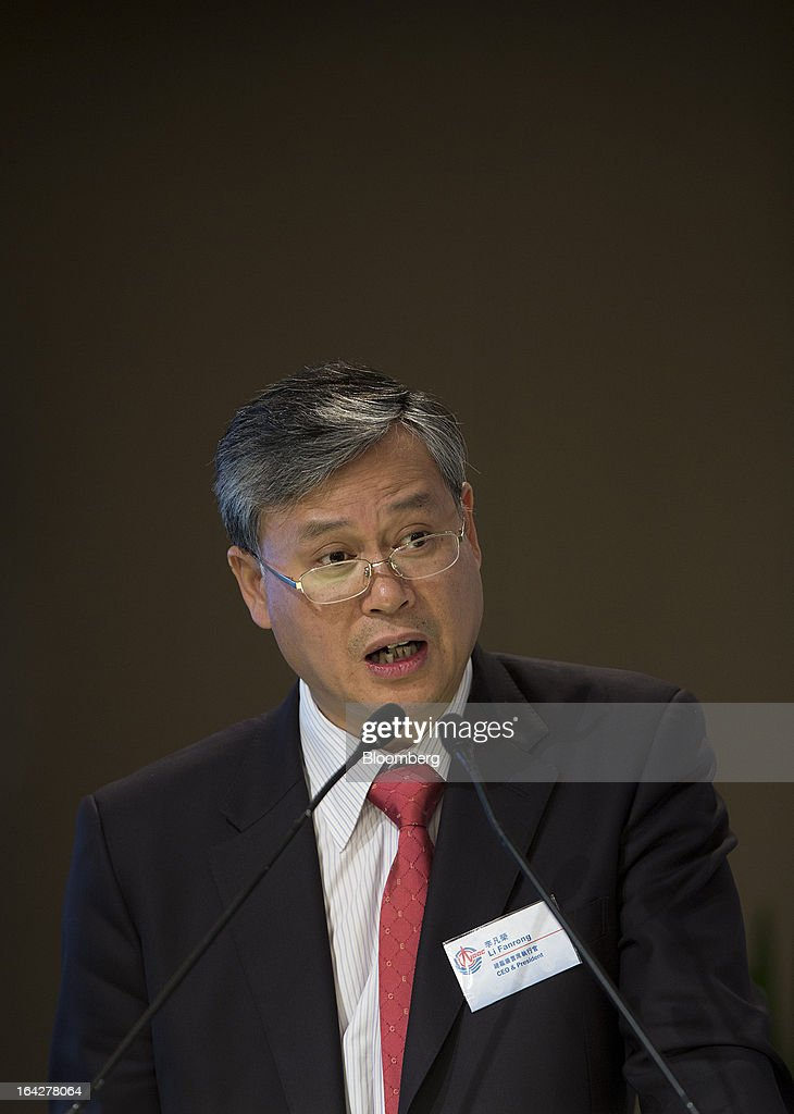 Li Fanrong, chief executive officer of Cnooc Ltd., speaks during a news conference in Hong Kong, China, on Friday, March 22, 2013. Cnooc reported 2012 profit that missed analyst estimates as China's biggest offshore oil producer spent more to explore and revive stalled output growth. Photographer: Jerome Favre/Bloomberg via Getty Images