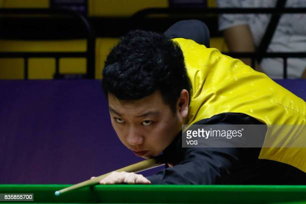 Li Hang of China plays a shot during his quarterfinal match against Mark Williams of Wales on day five of Evergrande 2017 World Snooker China...