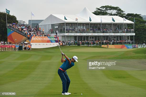 Li Hao Tong of China plays a shot during the final round of the Shenzhen International at Genzon Golf Club on April 19 2015 in Shenzhen China