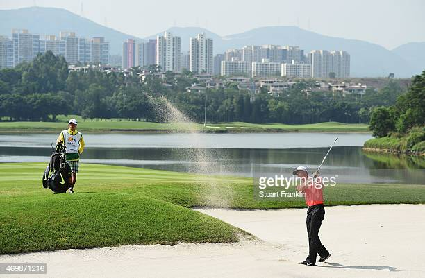 Li Hao Tong of China plays a shot during the first round of the Shenzhen International at Genzon Golf Club on April 16 2015 in Shenzhen China