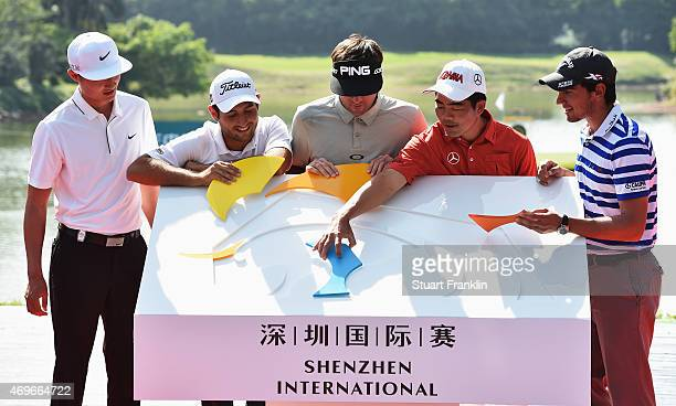 Li Haotong of China Alexander Levy of France Bubba Watson of USA Liang WenChong of China and Matteo Manassero of Ialy piece together a puzzle of the...