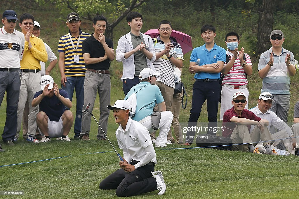 Li Haotong of China elebrates after plays a shot during the final round of the Volvo China open at Topwin Golf and Country Club on May 1, 2016 in Beijing, China.