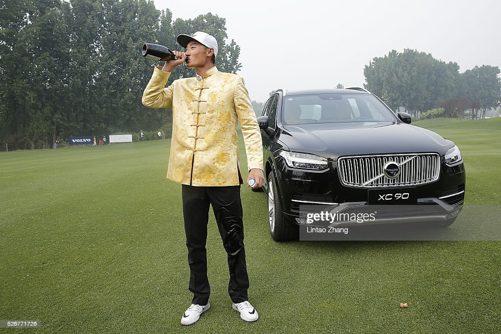 Li Haotong of China elebrates after winning the Volvo China Open at Topwin Golf and Country Club on May 1, 2016 in Beijing, China.