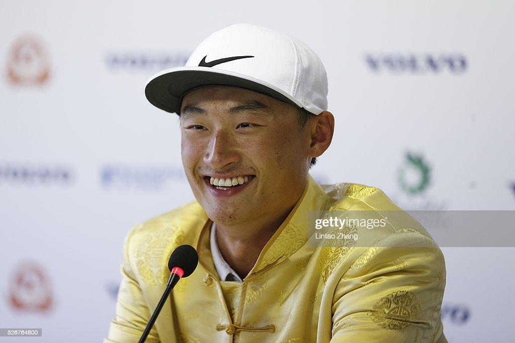 Li Haotong of China looks on during a press conference after winning the Volvo China Open at Topwin Golf and Country Club on May 1, 2016 in Beijing, China.