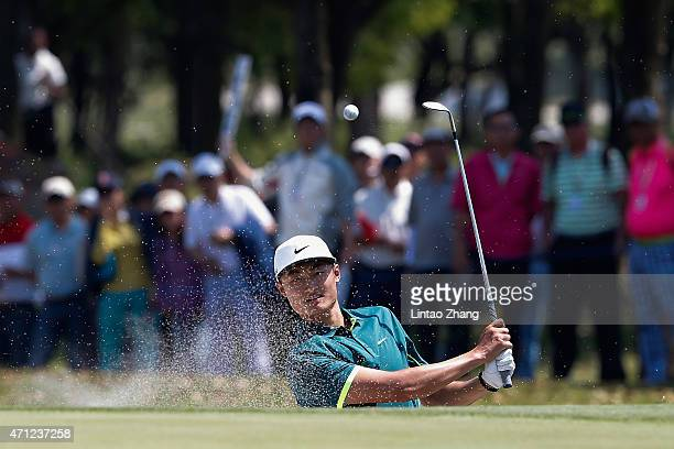 Li Haotong of China plays a shot during the day four of the Volvo China Open at Tomson Shanghai Pudong Golf Club on April 26 2015 in Shanghai China