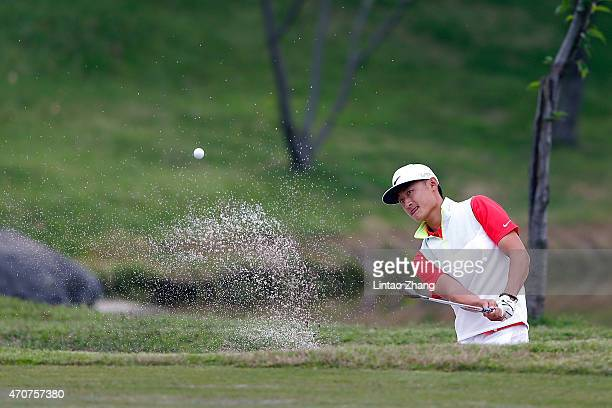 Li Haotong of China plays a shot during the day one of the Volvo China Open at Tomson Shanghai Pudong Golf Club on April 23 2015 in Shanghai China