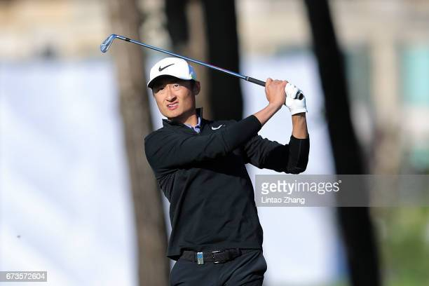 Li Haotong of China plays a shot during the first round of the 2017 Volvo China open at Topwin Golf and Country Club on April 27 2017 in Beijing China