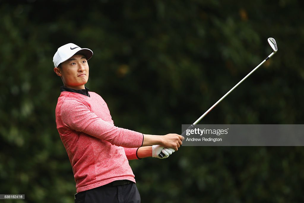 Li Haotong of China tees off on the 2nd hole during day four of the BMW PGA Championship at Wentworth on May 29, 2016 in Virginia Water, England.