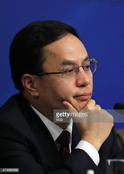 Li Hejun Chairman of Hanergy Holding Group attends a press conference of the Chinese People's Political Consultative Conference at the Great Hall of...