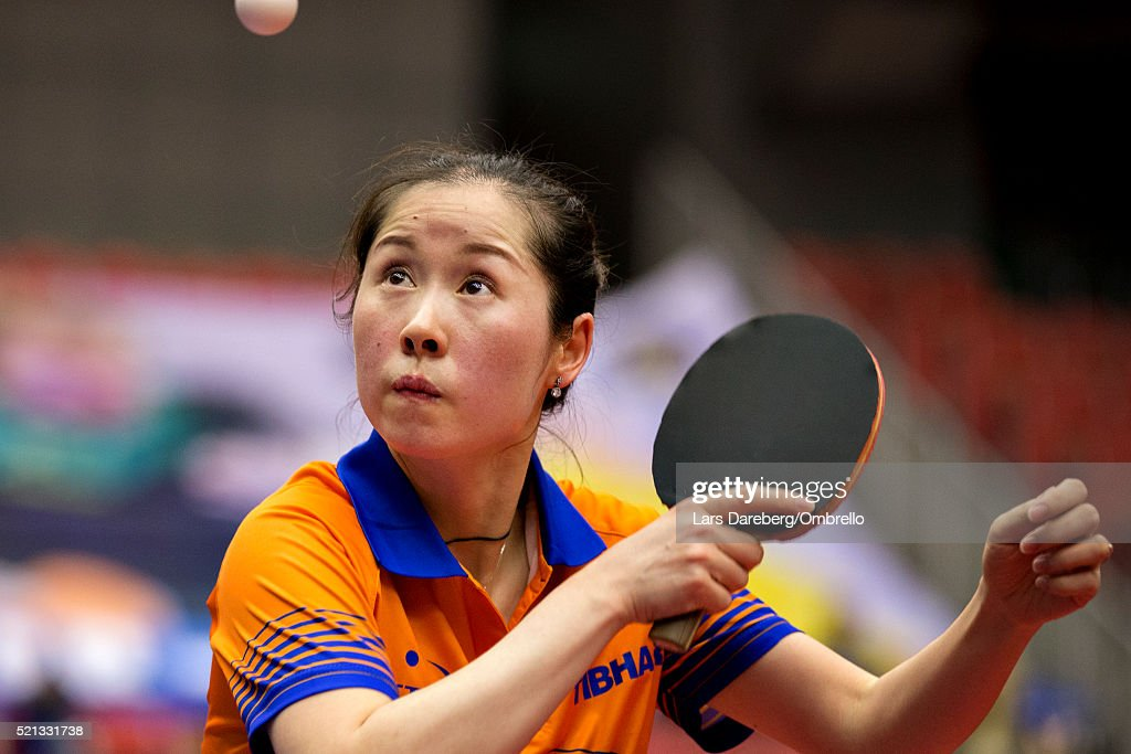 <a gi-track='captionPersonalityLinkClicked' href=/galleries/search?phrase=Li+Jie+-+Table+Tennis+Player&family=editorial&specificpeople=12783702 ng-click='$event.stopPropagation()'>Li Jie</a>, Nederlands during the ITTF-European Olympic Qualification Tournament on April 15, 2016 in Halmstad, Sweden.