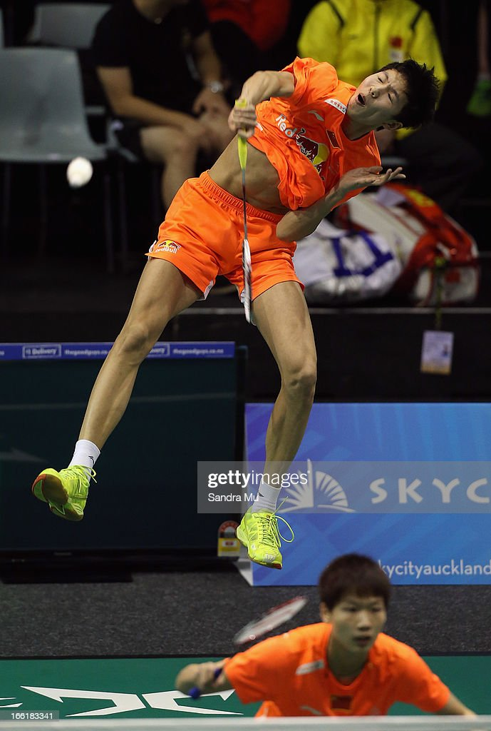 Li Junhui of China in action during the mixed doubles qualifying for the New Zealand Badminton Open at North Shore Events Centre on April 10, 2013 in Auckland, New Zealand.