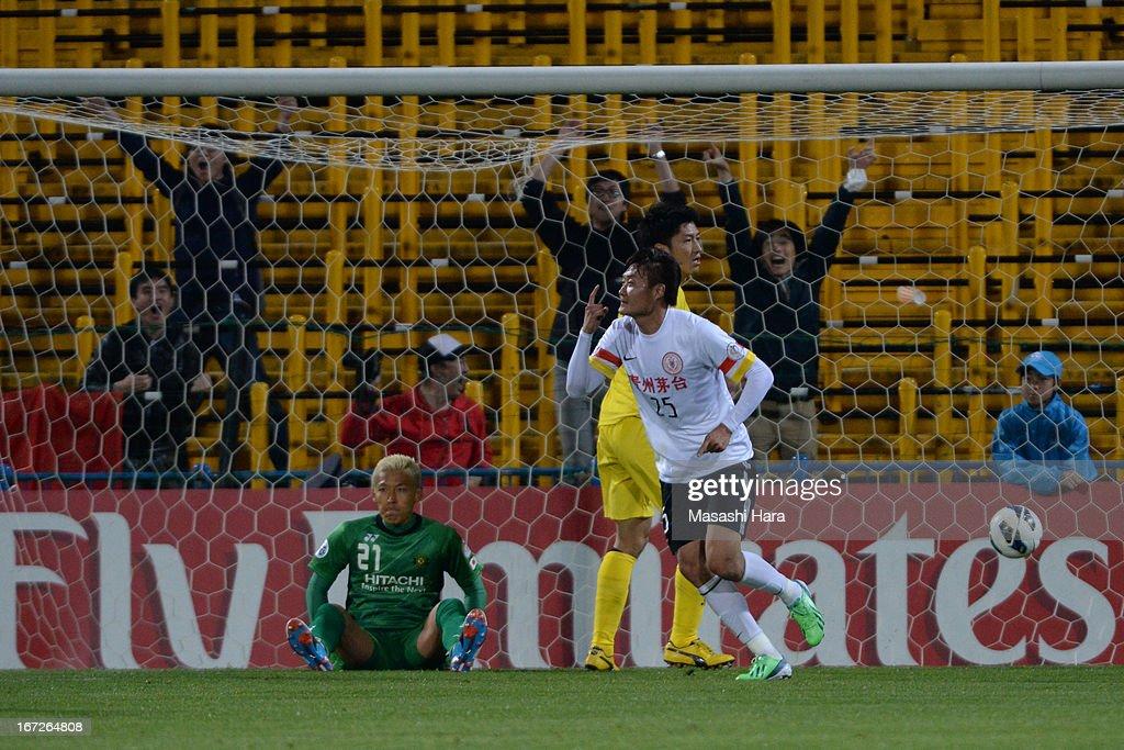 Li Kai #25 of Guizhou Renhe celebrates the first goal during the AFC Champions League Group H match between Kashiwa Reysol and Guizhou Renhe at Hitachi Kashiwa Soccer Stadium on April 23, 2013 in Kashiwa, Japan.