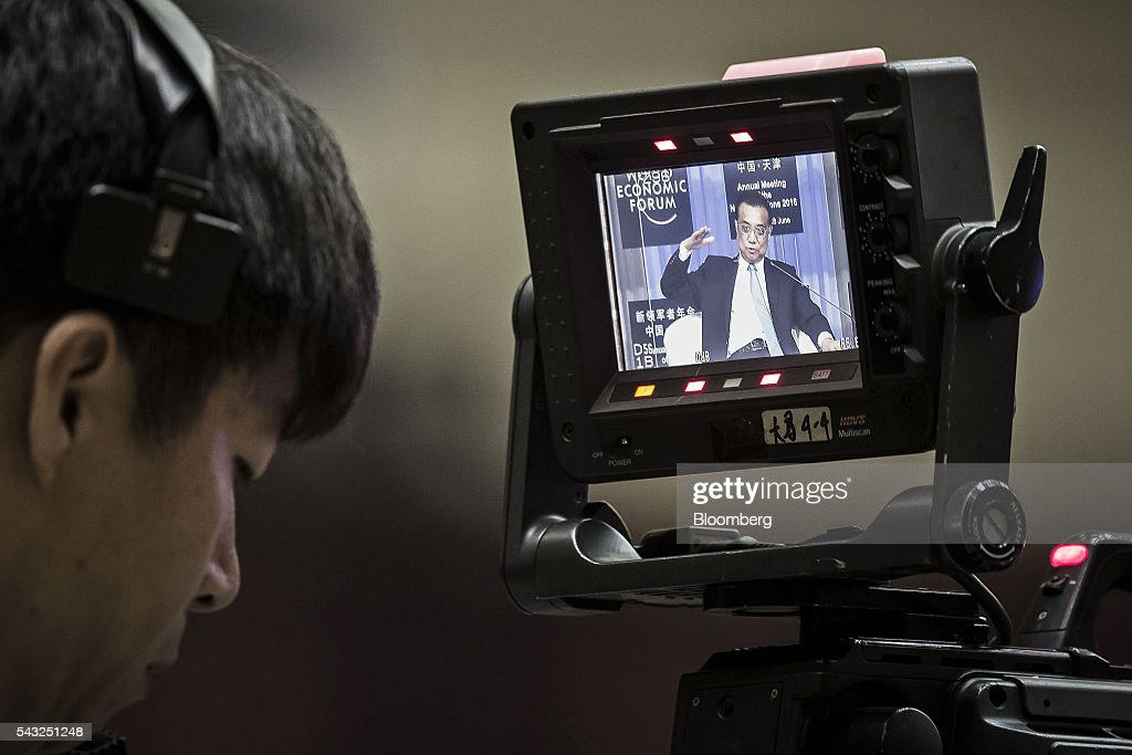 <a gi-track='captionPersonalityLinkClicked' href=/galleries/search?phrase=Li+Keqiang&family=editorial&specificpeople=2481781 ng-click='$event.stopPropagation()'>Li Keqiang</a>, China's premier, is displayed on a video camera monitor as he speaks during the opening plenary session of the World Economic Forum (WEF) Annual Meeting of the New Champions in Tianjin, China, on Monday, June 27, 2016. Li said global uncertainties have increased after the U.K.'s vote to leave the European Union and said his nation has ample tools to meet challenges facing the economy. Photographer: Qilai Shen/Bloomberg via Getty Images
