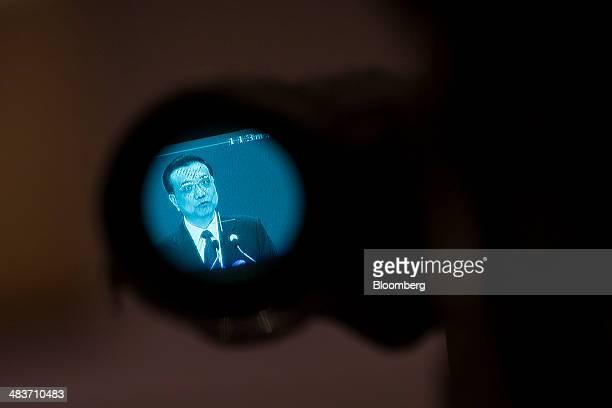 Li Keqiang China's premier is seen on a camera viewfinder as he delivers a speech at the Boao Forum for Asia in Boao Hainan China on Thursday April...