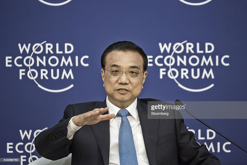 Li Keqiang, China's premier, speaks during a meeting with business leaders at the World Economic Forum (WEF) Annual Meeting of the New Champions in Tianjin, China, on Tuesday, June 28, 2016. China will make efforts to ensure stability of nation's financial and capital markets after Brexit jolted global markets said Li. Photographer: Qilai Shen/Bloomberg via Getty Images