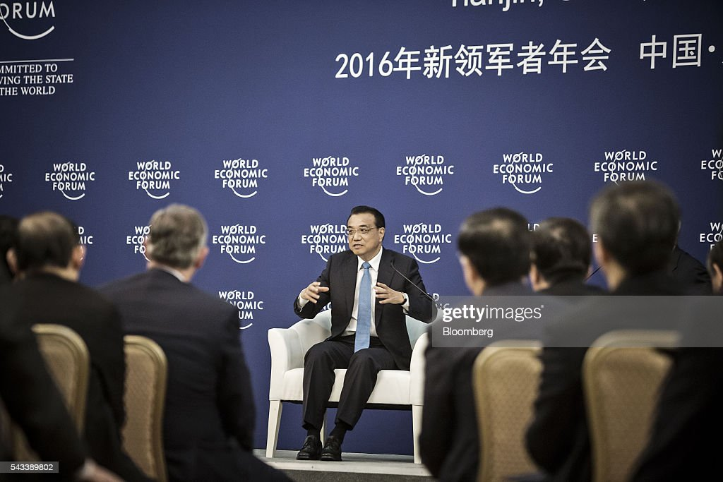 <a gi-track='captionPersonalityLinkClicked' href=/galleries/search?phrase=Li+Keqiang&family=editorial&specificpeople=2481781 ng-click='$event.stopPropagation()'>Li Keqiang</a>, China's premier, speaks during a meeting with business leaders at the World Economic Forum (WEF) Annual Meeting of the New Champions in Tianjin, China, on Tuesday, June 28, 2016. China will make efforts to ensure stability of nation's financial and capital markets after Brexit jolted global markets said Li. Photographer: Qilai Shen/Bloomberg via Getty Images