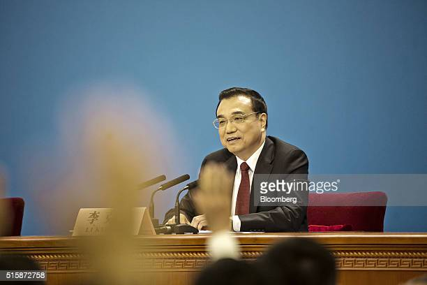 Li Keqiang China's premier speaks during a news conference at the 12th National People's Congress at the Great Hall of the People in Beijing China on...
