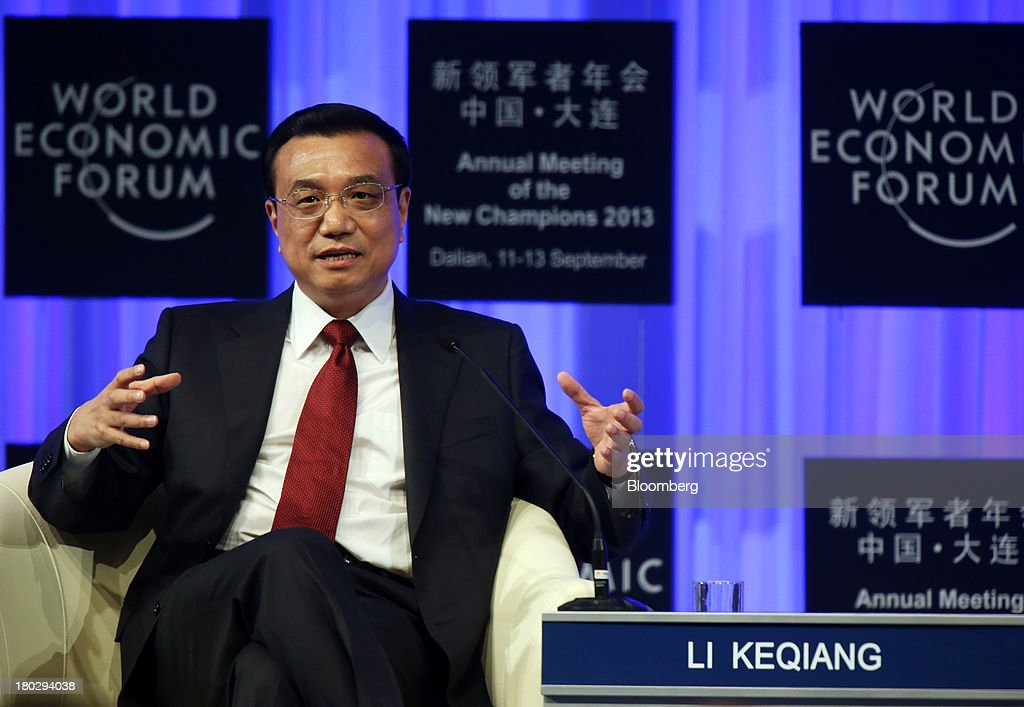 <a gi-track='captionPersonalityLinkClicked' href=/galleries/search?phrase=Li+Keqiang&family=editorial&specificpeople=2481781 ng-click='$event.stopPropagation()'>Li Keqiang</a>, China's premier, speaks during the opening plenary at the World Economic Forum Annual Meeting of The New Champions in Dalian, China, on Wednesday, Sept. 11, 2013. Li said the foundations of a growth rebound aren't solid while cautioning that stimulus won't help resolve deep-rooted issues in the world's second-largest economy. Photographer: Tomohiro Ohsumi/Bloomberg via Getty Images