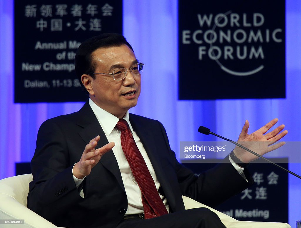 Li Keqiang, China's premier, speaks during the opening plenary at the World Economic Forum Annual Meeting of The New Champions in Dalian, China, on Wednesday, Sept. 11, 2013. Li said the foundations of a growth rebound aren't solid while cautioning that stimulus won't help resolve deep-rooted issues in the world's second-largest economy. Photographer: Tomohiro Ohsumi/Bloomberg via Getty Images