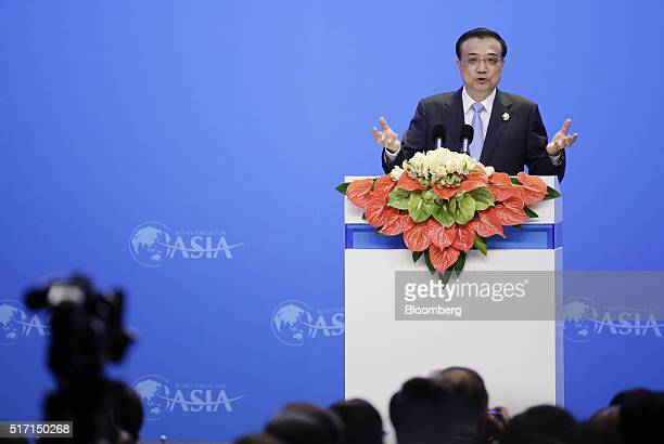 Li Keqiang China's premier speaks during the opening plenary session of the Boao Forum For Asia Annual Conference in Boao China on Thursday March 24...
