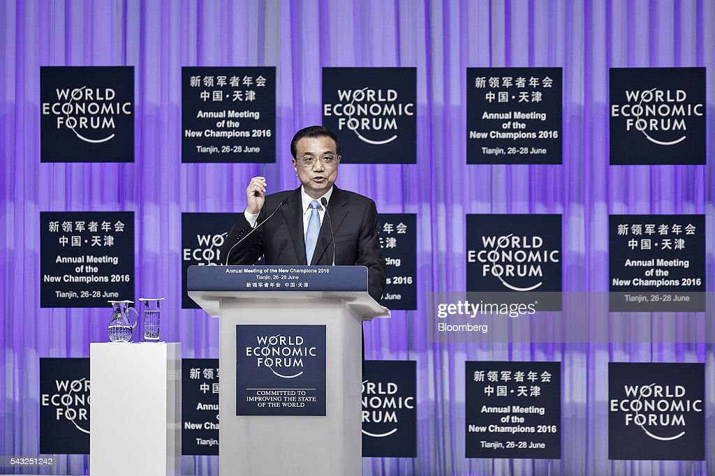 <a gi-track='captionPersonalityLinkClicked' href=/galleries/search?phrase=Li+Keqiang&family=editorial&specificpeople=2481781 ng-click='$event.stopPropagation()'>Li Keqiang</a>, China's premier, speaks during the opening plenary session of the World Economic Forum (WEF) Annual Meeting of the New Champions in Tianjin, China, on Monday, June 27, 2016. Li said global uncertainties have increased after the U.K.'s vote to leave the European Union and said his nation has ample tools to meet challenges facing the economy. Photographer: Qilai Shen/Bloomberg via Getty Images