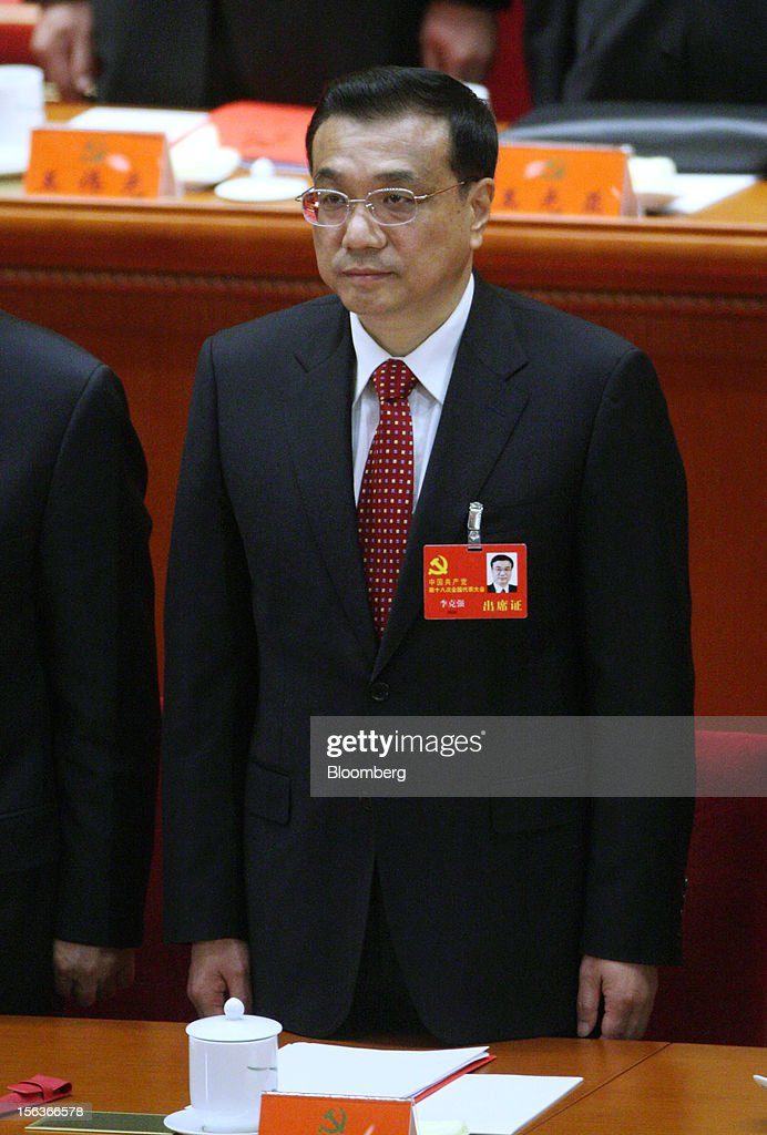 <a gi-track='captionPersonalityLinkClicked' href=/galleries/search?phrase=Li+Keqiang&family=editorial&specificpeople=2481781 ng-click='$event.stopPropagation()'>Li Keqiang</a>, China's vice premier, attends the closing session of the 18th National Congress of the Communist Party of China at the Great Hall of the People in Beijing, China, on Wednesday, Nov. 14, 2012. Li and Vice President Xi Jinping were reappointed to the Chinese Communist Party's Central Committee, positioning them to take over the top two posts in the world's second-biggest economy. Photographer: Tomohiro Ohsumi/Bloomberg via Getty Images