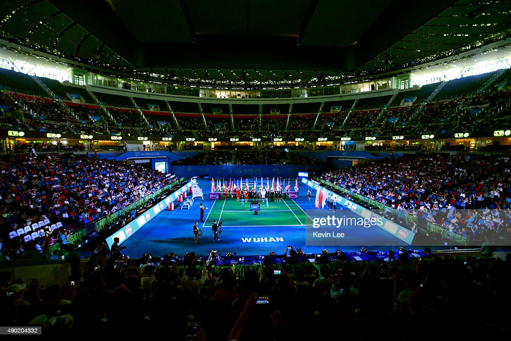 Li Na and Petra Kvitova attend the opening ceremony of the 2015 Dongfeng Motor Wuhan Open at Optics Valley International Tennis Center on September...