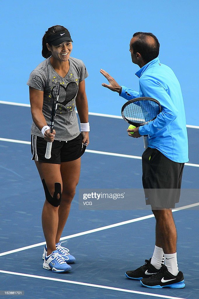 Li Na of China and her coach Carlos Rodriguez attend a press conference one day before the China Open at National Tennis Center on September 28 2012...