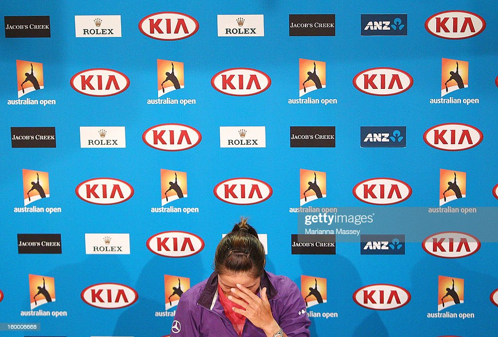 Li Na of China during a press conference during day eleven of the 2013 Australian Open at Melbourne Park on January 25, 2013 in Melbourne, Australia.