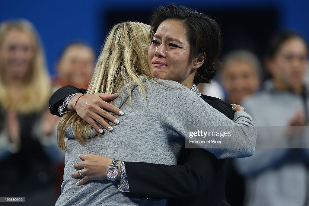 Li Na of China hugs Petra Kvitova of Czech during her retirement ceremony at National Tennis Centre on September 30, 2014 in Beijing, China.
