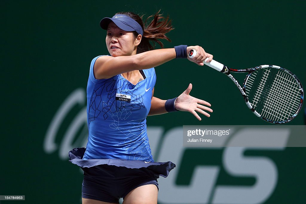 Li Na of China plays a forehand in her match against Angelique Kerber of Germany during day three of the season ending TEB BNP Paribas WTA Championships Tennis at the Sinan Erdem Dome on October 25, 2012 in Istanbul, Turkey.