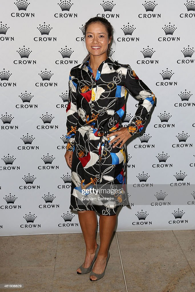 Li Na of China poses as she arrives at the IMG tennis players party at Crown Towers on January 12, 2014 in Melbourne, Australia.