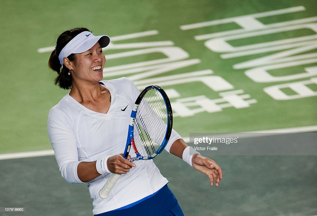 Li Na of China smiles during her match against Venus Williams of USA on day three of the Hong Kong Tennis Classic 2011 at the Victoria stadium on January 7, 2011 in Hong Kong, China.