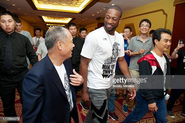 Li Ning and Dwyane Wade attend the WOW meet and greet on July 3 2013 in Beijing China
